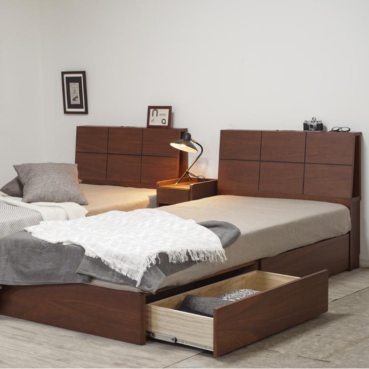 ゆったり寝れるセミダブル ベッド フレーム キャビ引出付 ウォールナット|種田家具 山口市 防府市で素敵な眠りをお探しならの画像1