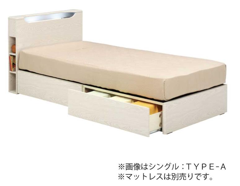 ベッド ホワイト シングル フレーム 引出付TYPE-A|種田家具 |下松市 周南市 光市でベッド探しの画像1