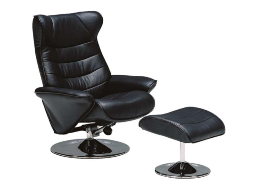 質の良いブラック本革 パーソナル リクライニングソファーの画像1
