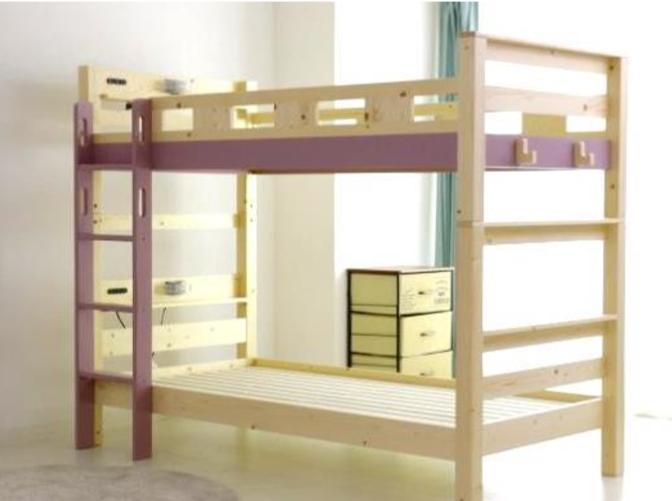シンプルデザインで機能的 やさしい印象の二段ベッドの画像2