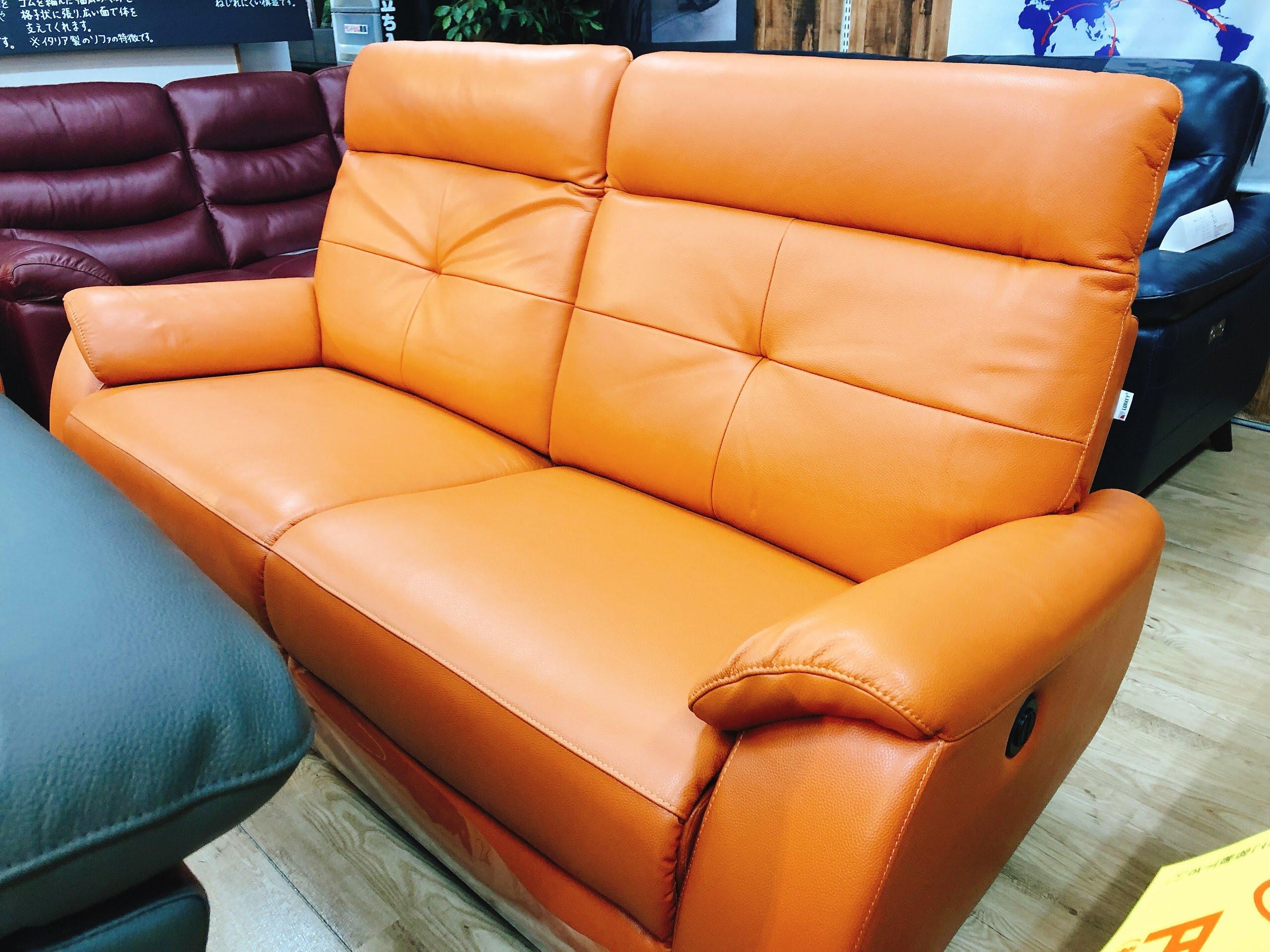 イタリア厚革 電動リクライニングソファー グレー色とオレンジ色 各一台限りの画像5