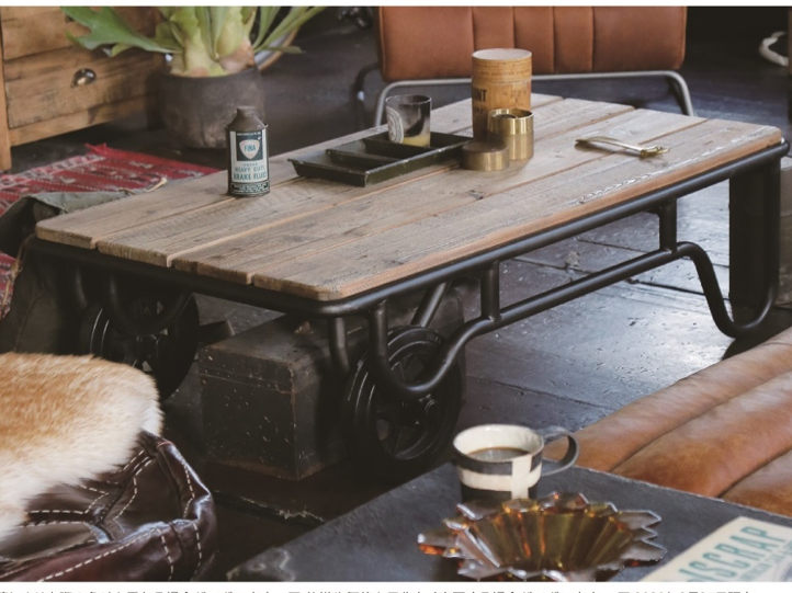 農機具をイメージしてデザインされた古材テーブル CRASHの画像1