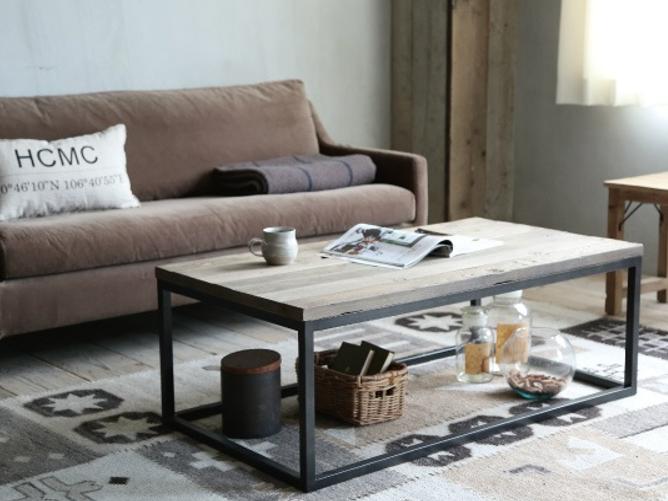 ニレ古材とスチールのコンパクト コーヒーテーブルの画像1
