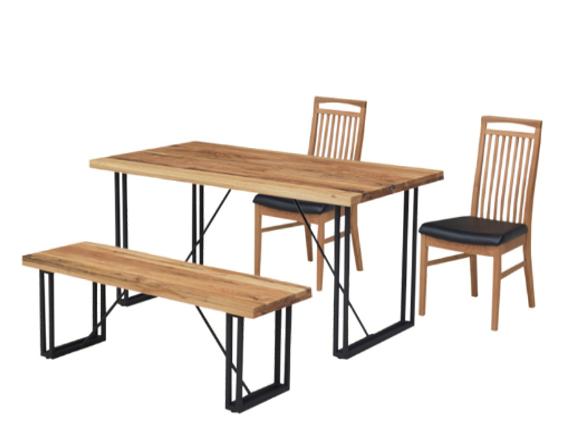 4㎝厚のオーク無垢材天板とスチール脚の150㎝巾ダイニングテーブルの画像1