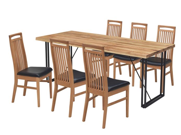 4㎝厚のオーク無垢材天板とスチール脚の150㎝巾ダイニングテーブルの画像3